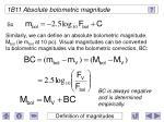 1b11 absolute bolometric magnitude