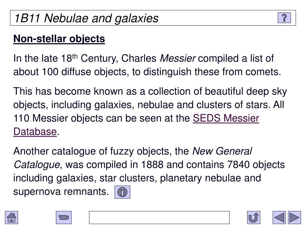 1B11 Nebulae and galaxies