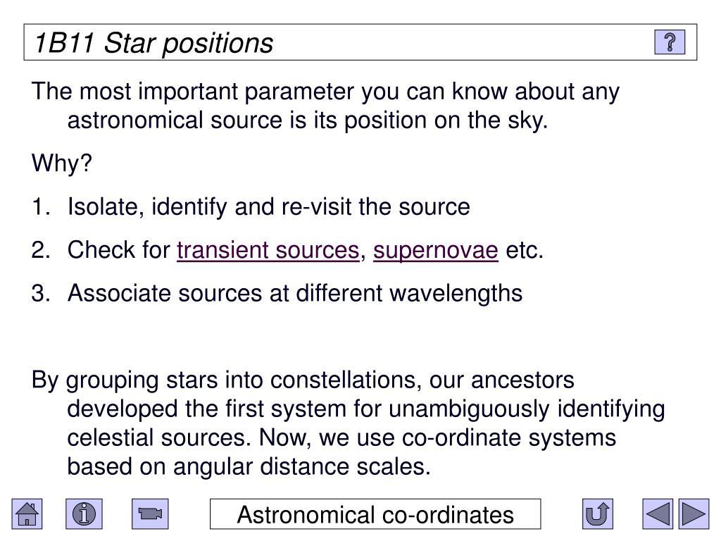 1B11 Star positions
