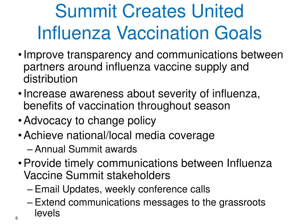 Summit Creates United Influenza Vaccination Goals