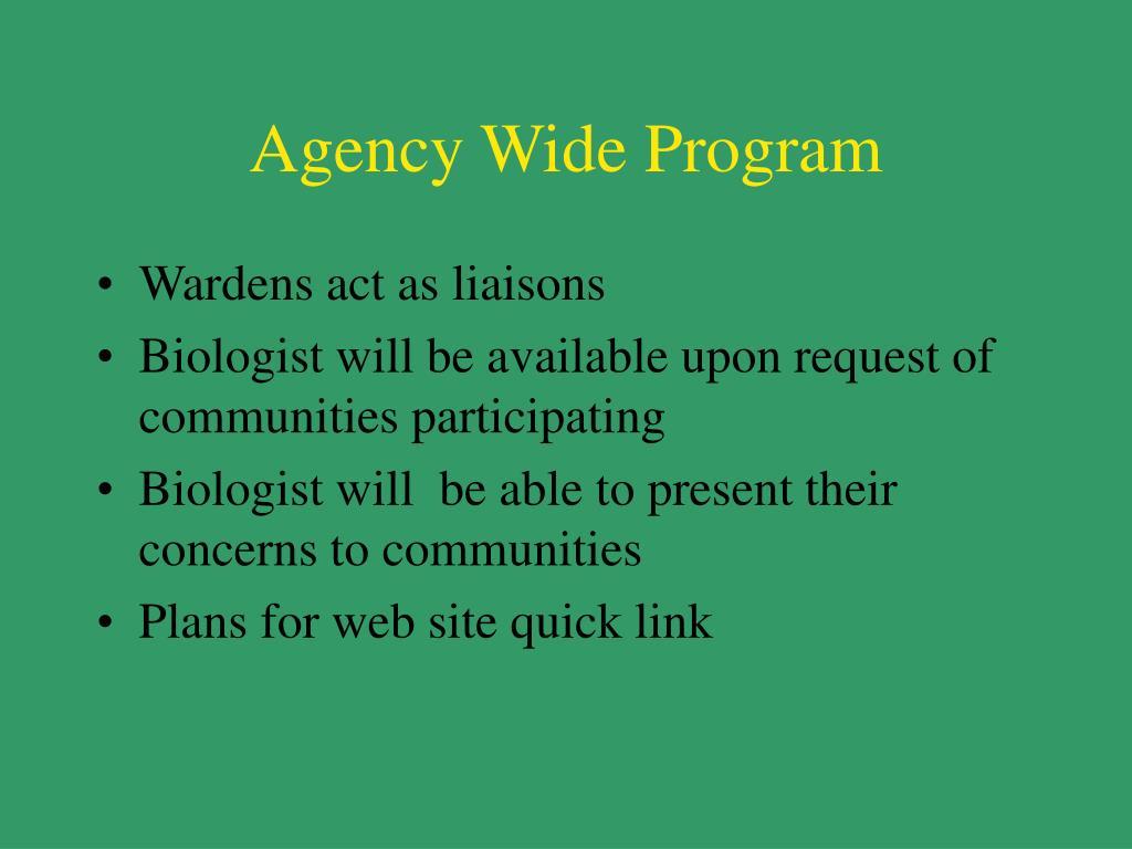 Agency Wide Program