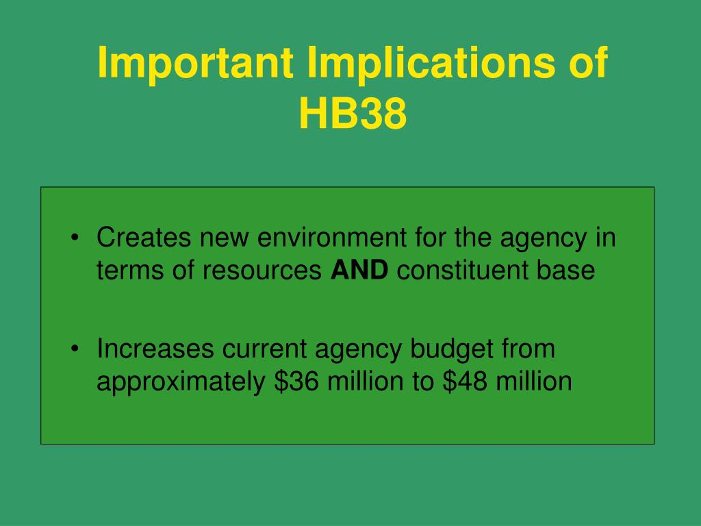 Important Implications of HB38