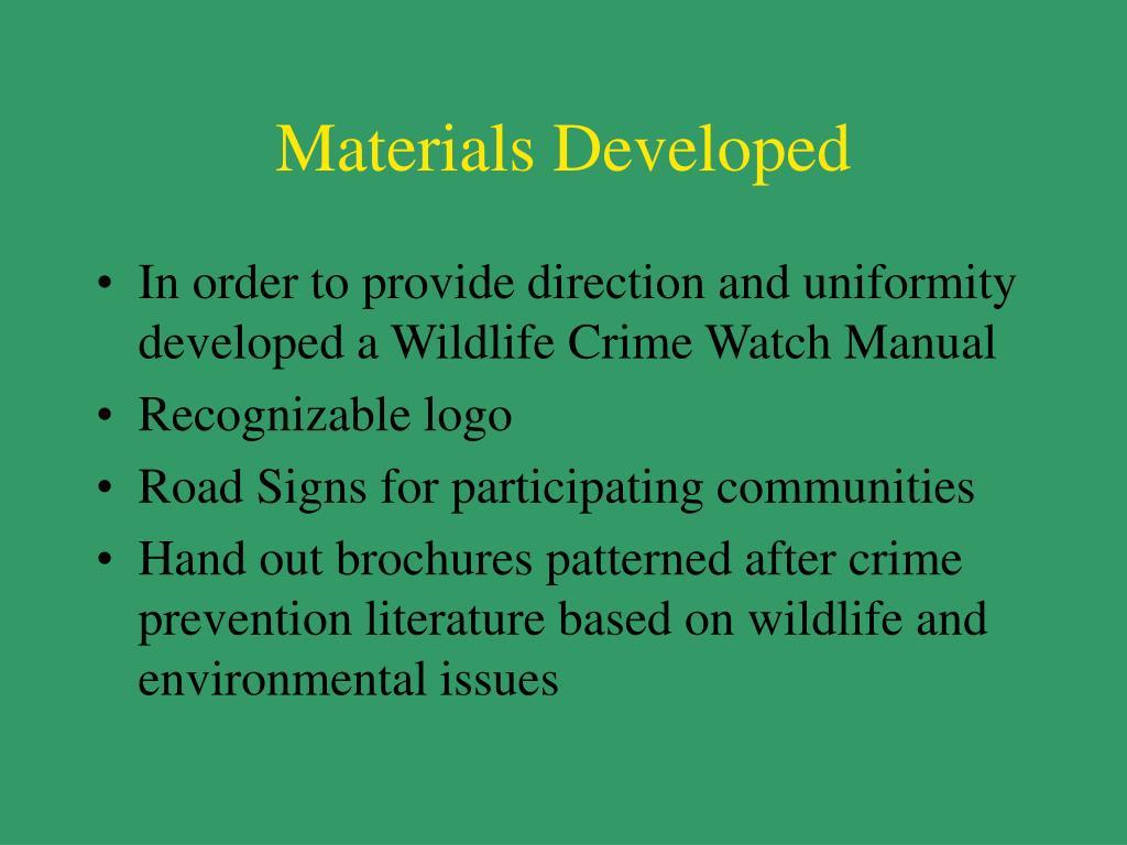 Materials Developed