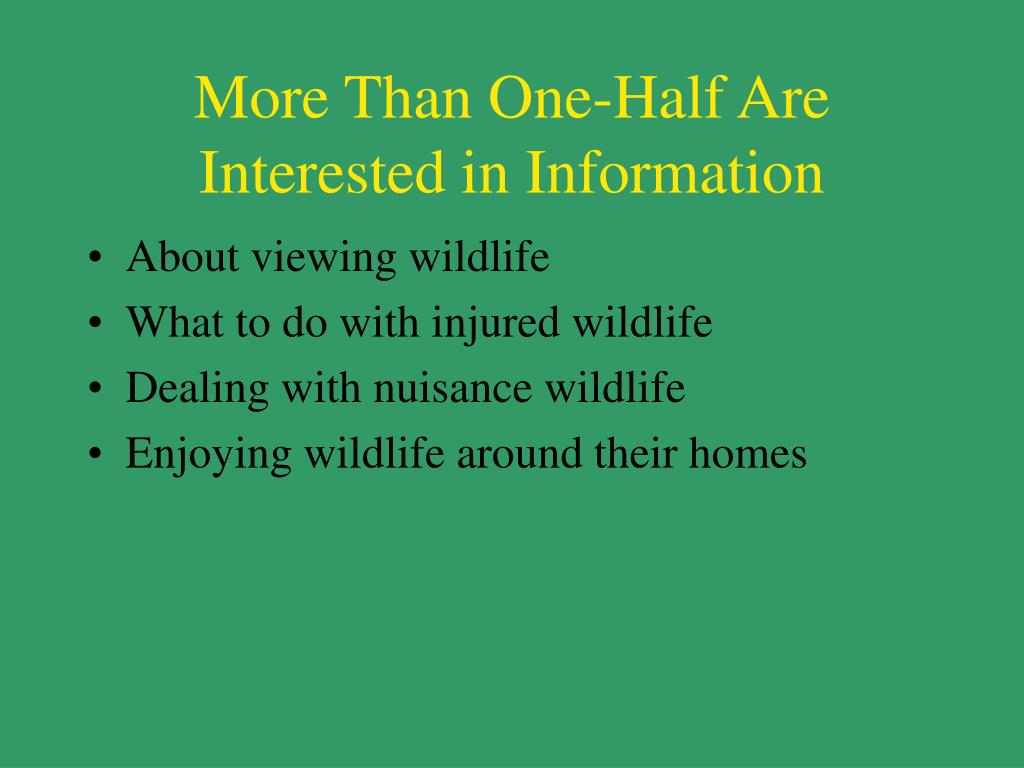 More Than One-Half Are Interested in Information