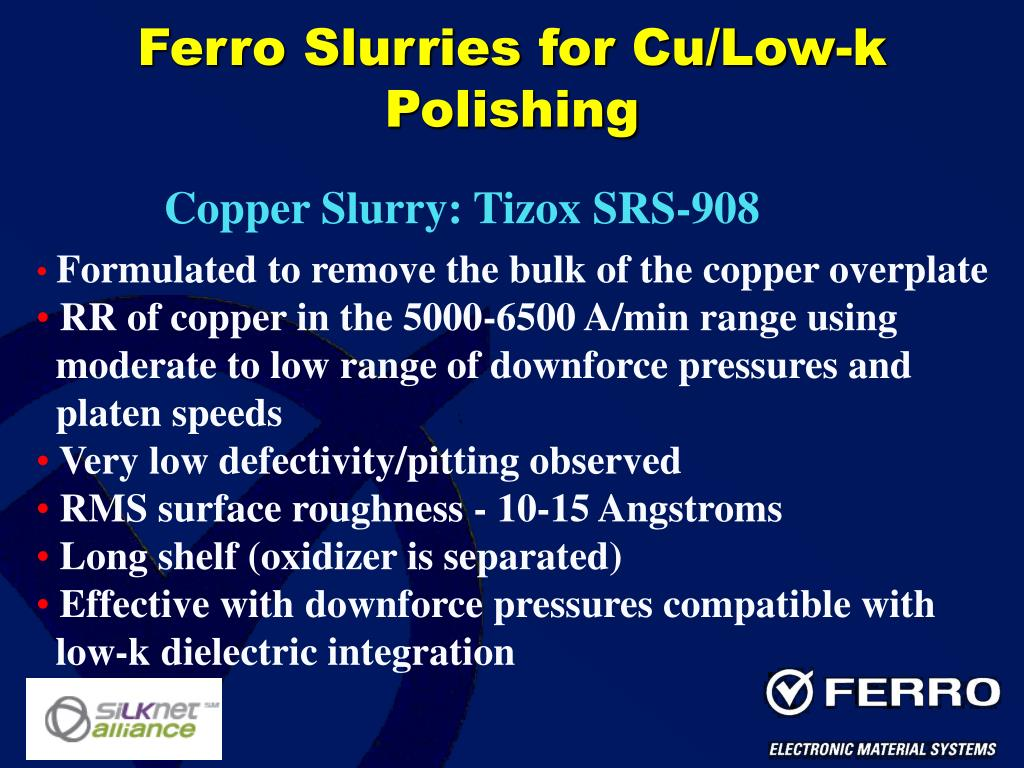 Ferro Slurries for Cu/Low-k Polishing