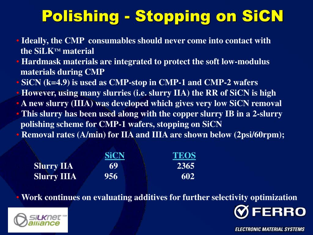 Polishing - Stopping on SiCN