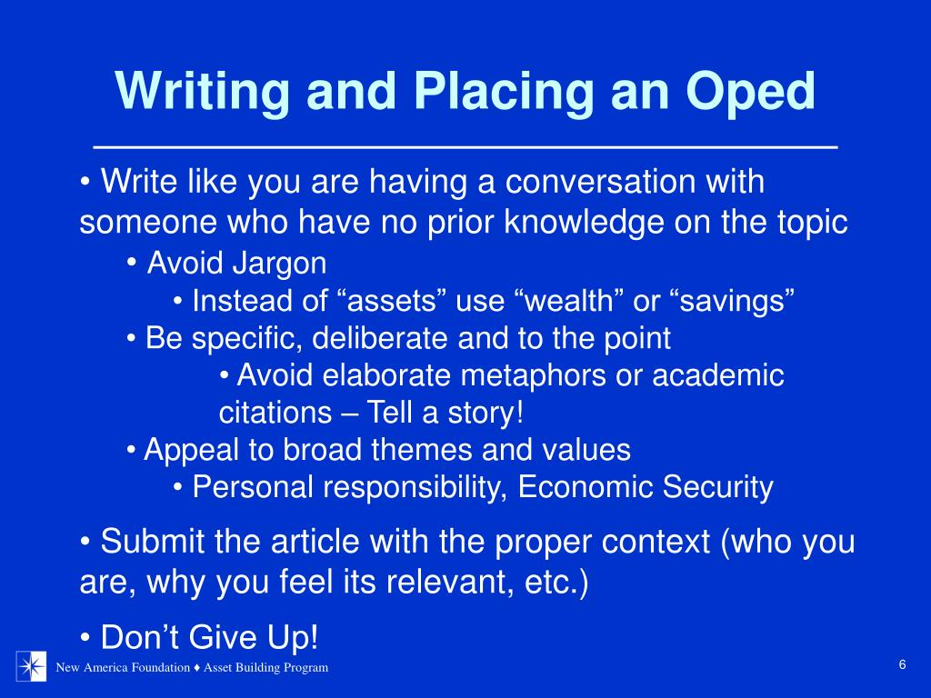 Writing and Placing an Oped