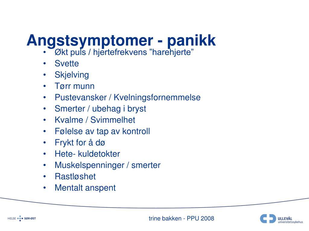 Angstsymptomer - panikk