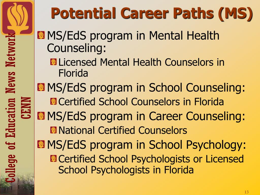 Potential Career Paths (MS)