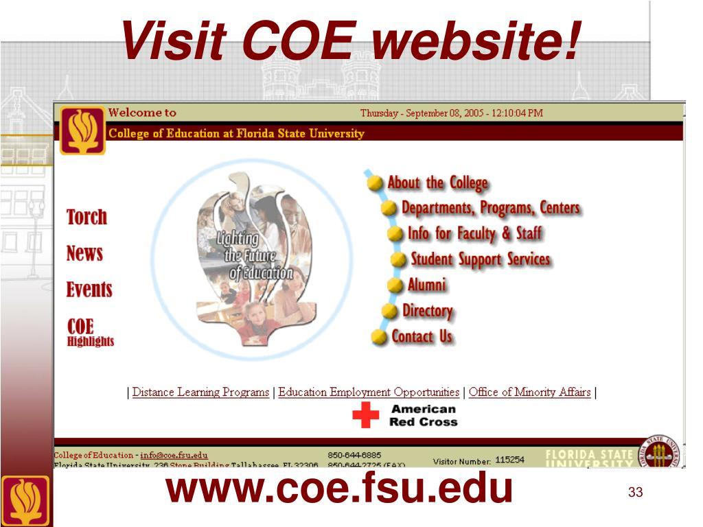 Visit COE website!