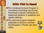 with phd in hand