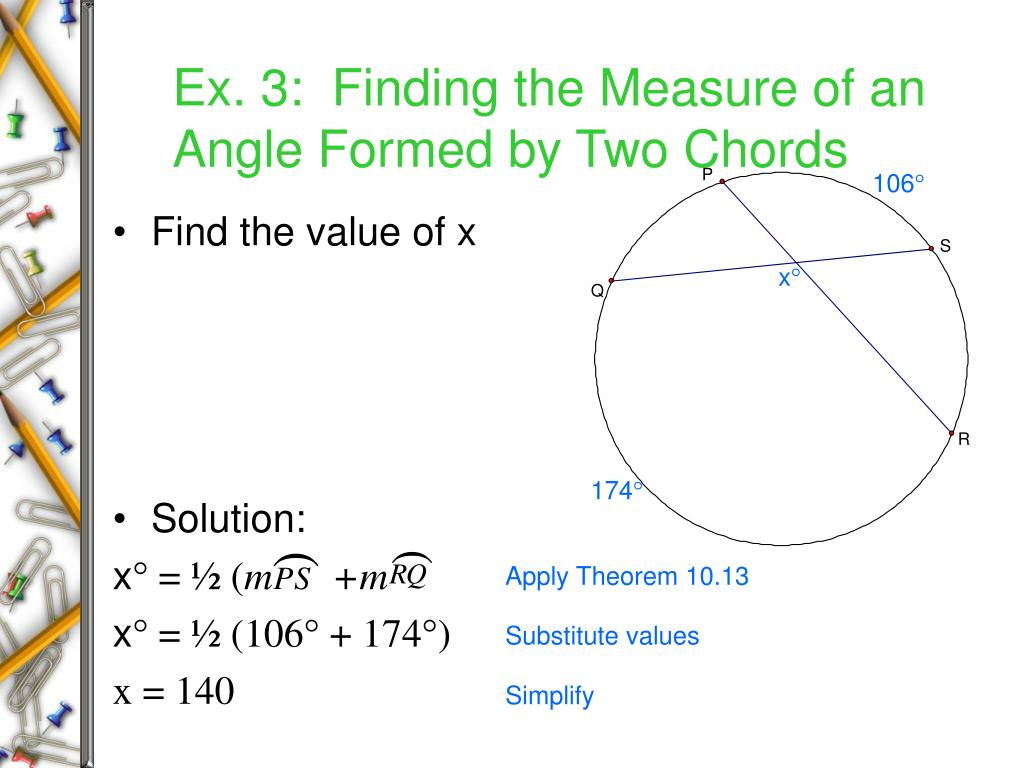 Ex. 3:  Finding the Measure of an Angle Formed by Two Chords