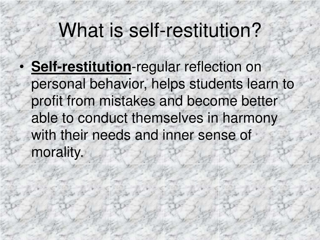 What is self-restitution?