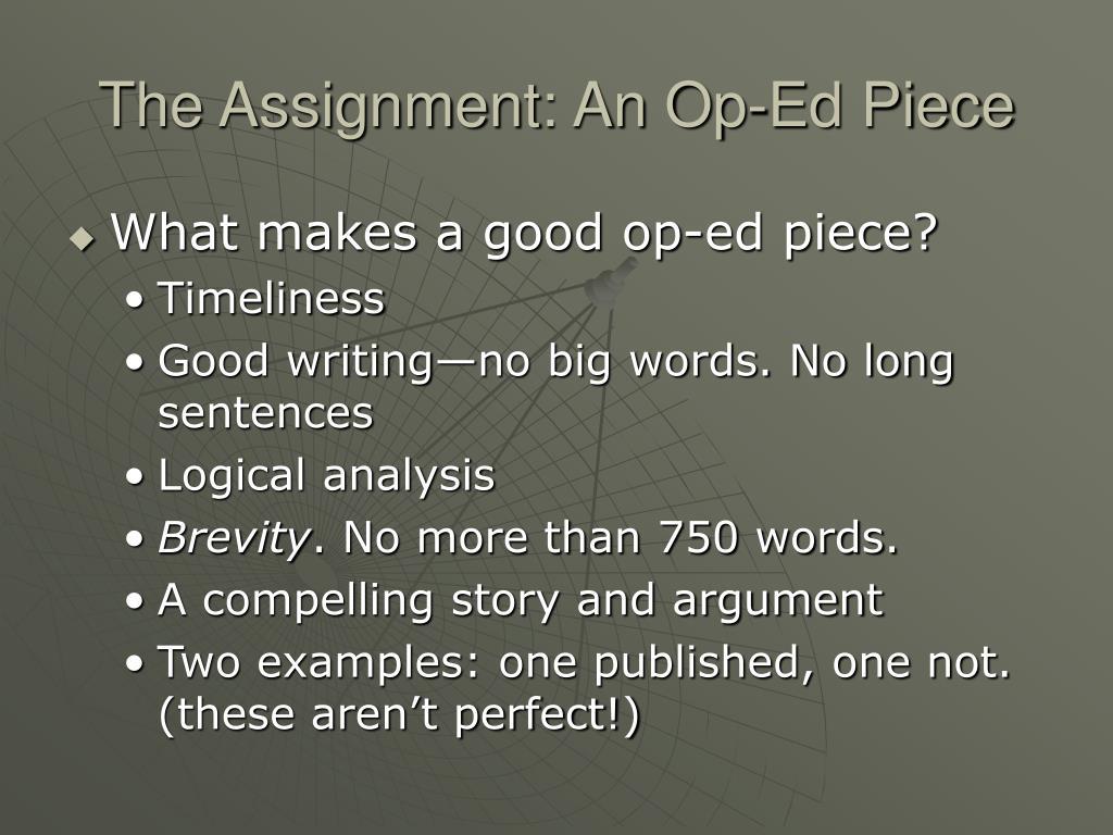 The Assignment: An Op-Ed Piece
