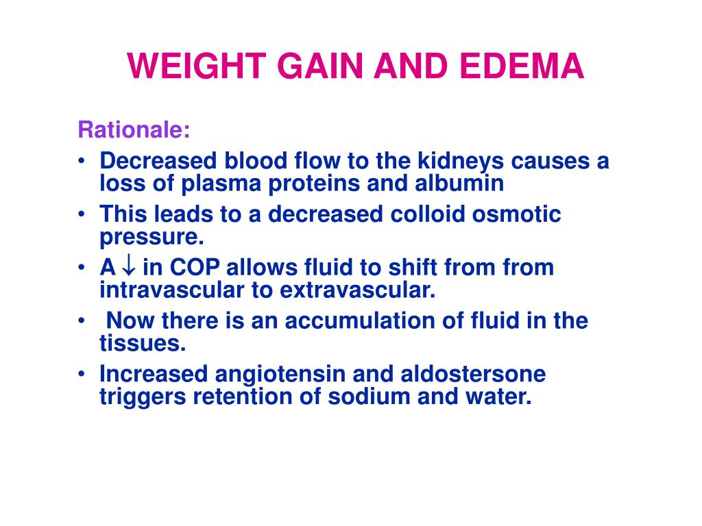 WEIGHT GAIN AND EDEMA