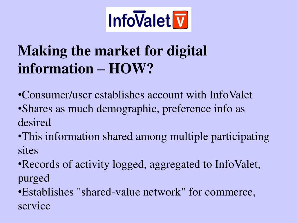 Making the market for digital information – HOW?