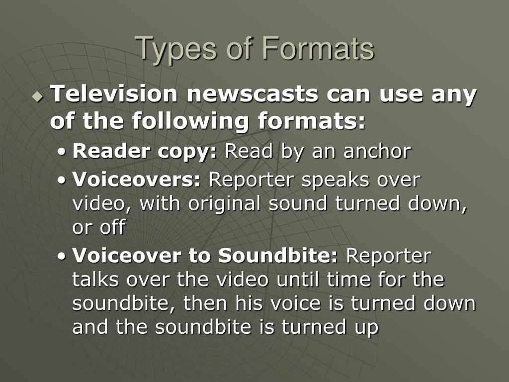 Types of Formats