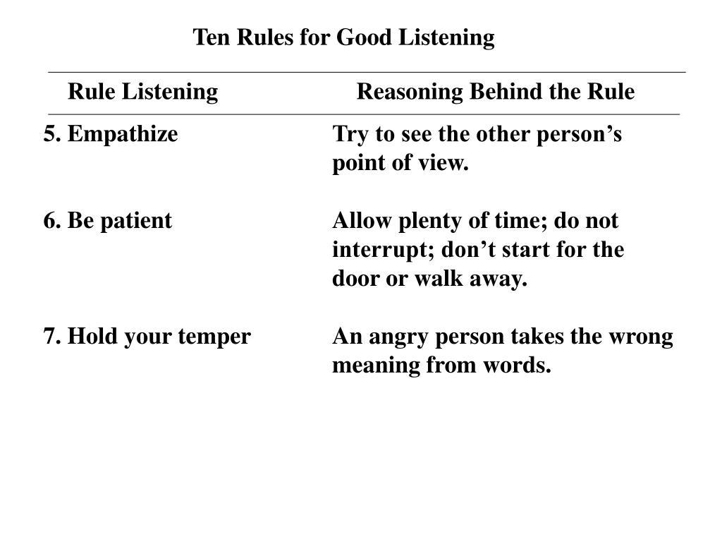 Ten Rules for Good Listening