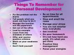 things to remember for personal development
