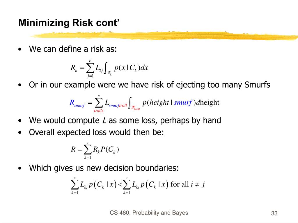 Minimizing Risk cont'