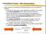 using bayes formula more nomenclature