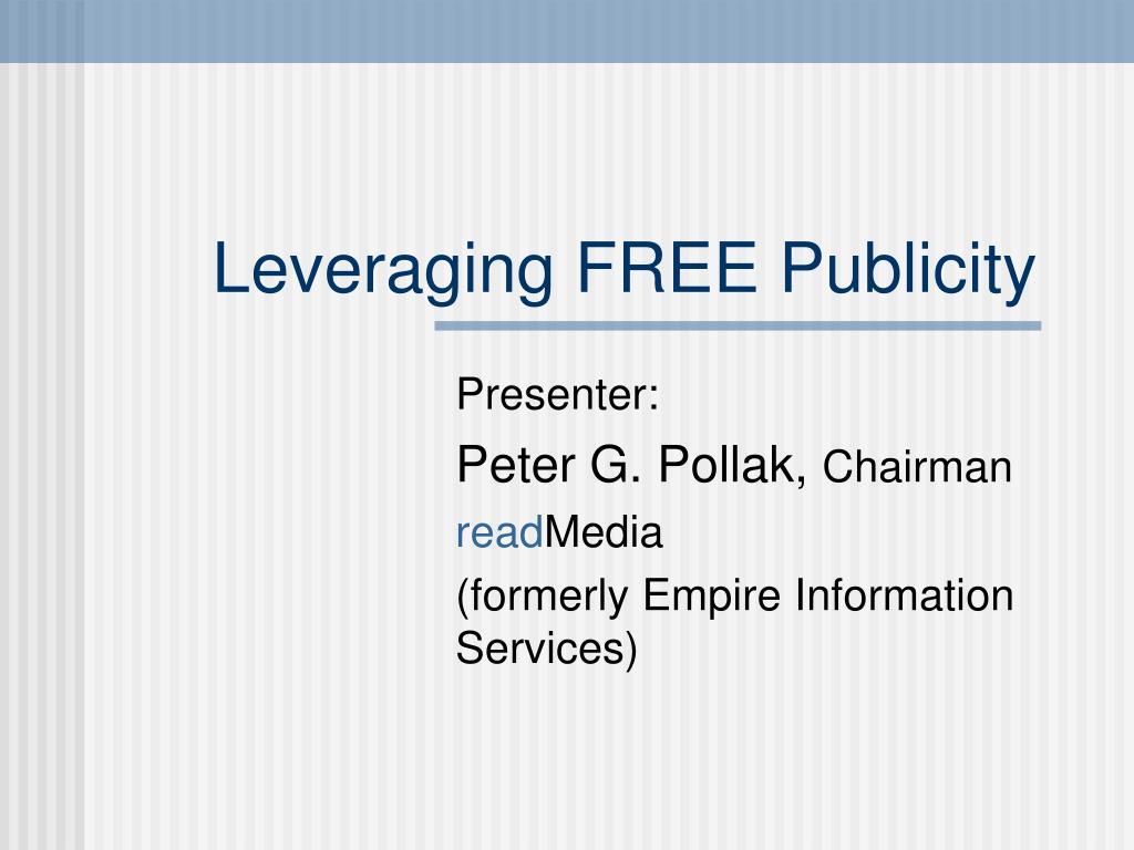 leveraging free publicity