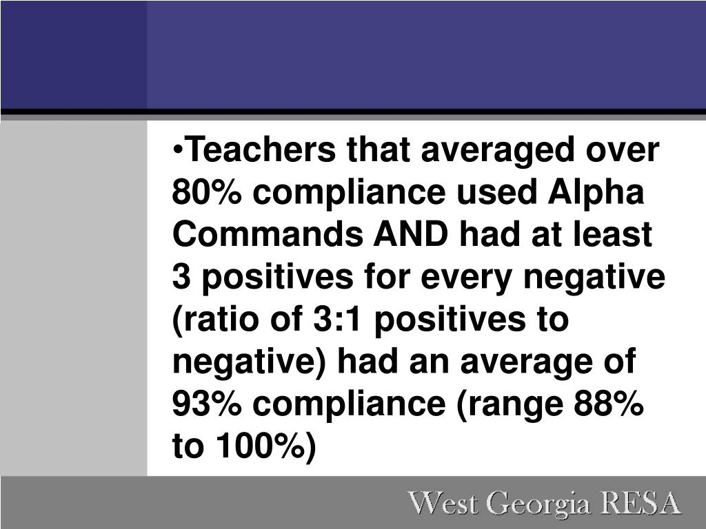 Teachers that averaged over 80% compliance used Alpha Commands AND had at least 3 positives for every negative (ratio of 3:1 positives to negative) had an average of 93% compliance (range 88% to 100%)