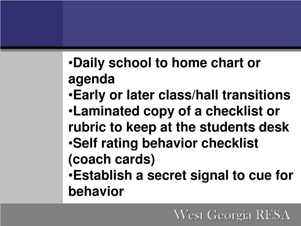 Daily school to home chart or agenda