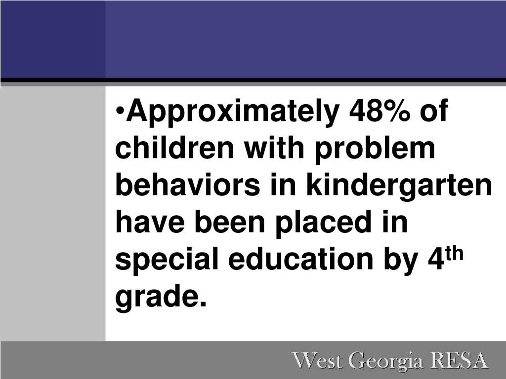 Approximately 48% of children with problem behaviors in kindergarten have been placed in special education by 4