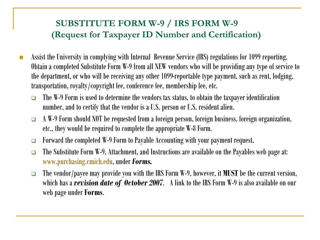SUBSTITUTE FORM W-9 / IRS FORM W-9