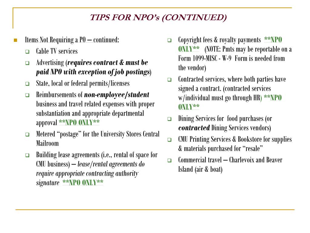 Items Not Requiring a PO – continued:
