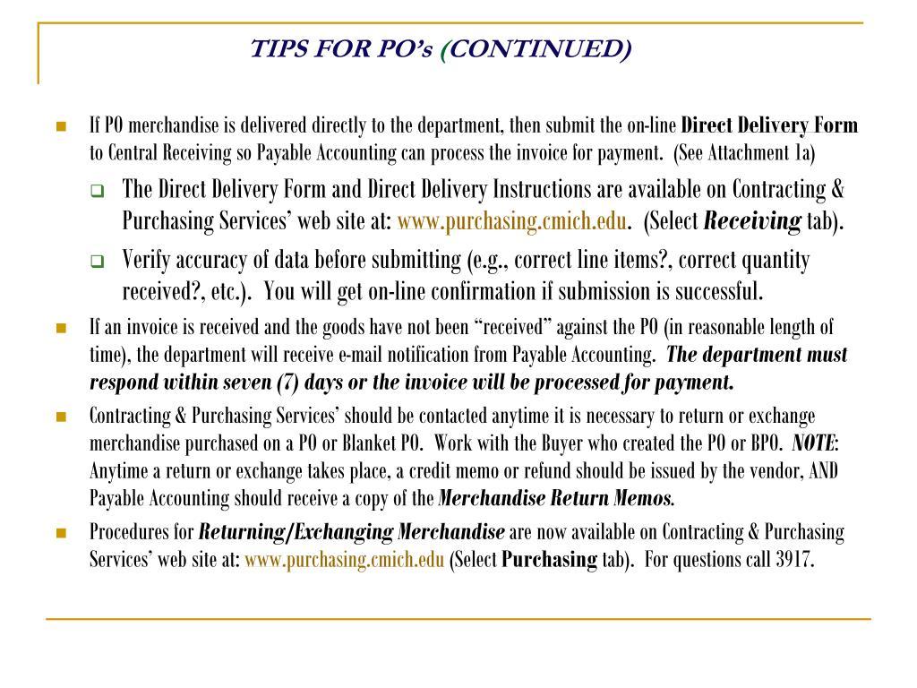 TIPS FOR PO's