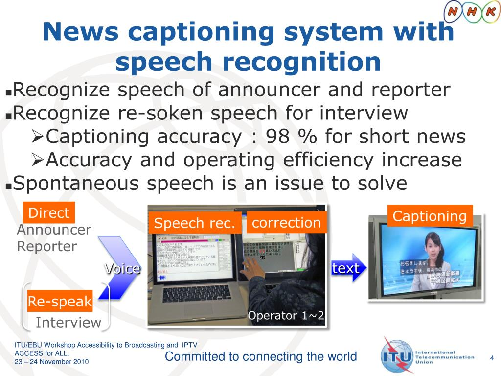 News captioning system with speech recognition