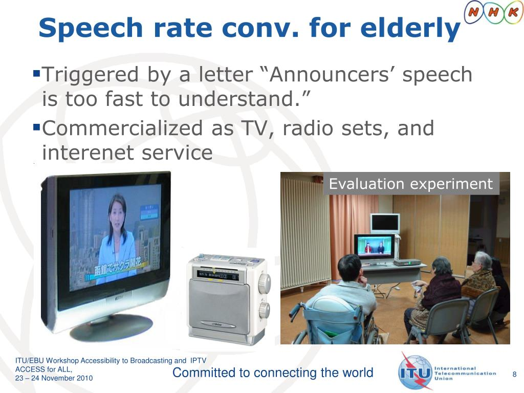 Speech rate conv. for elderly