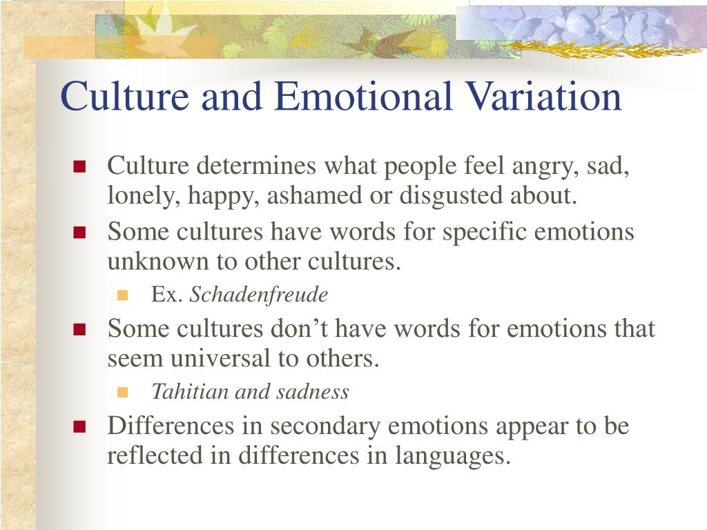 Culture and Emotional Variation