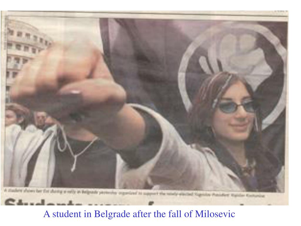 A student in Belgrade after the fall of Milosevic