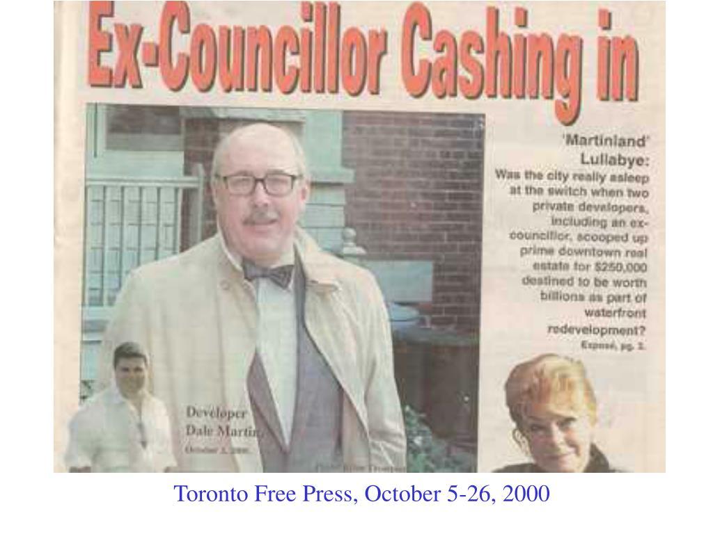 Toronto Free Press, October 5-26, 2000