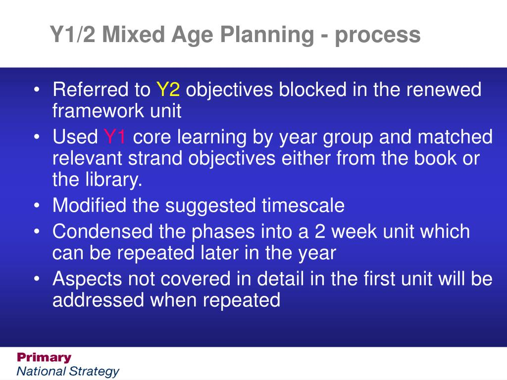 Y1/2 Mixed Age Planning - process