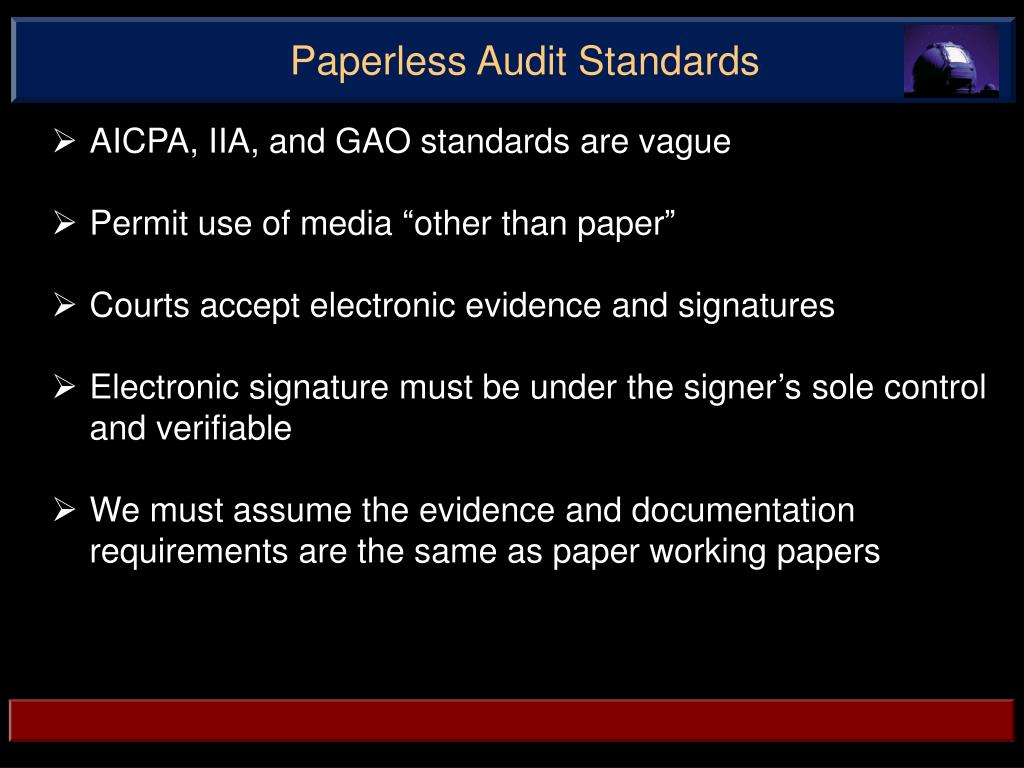 Paperless Audit Standards