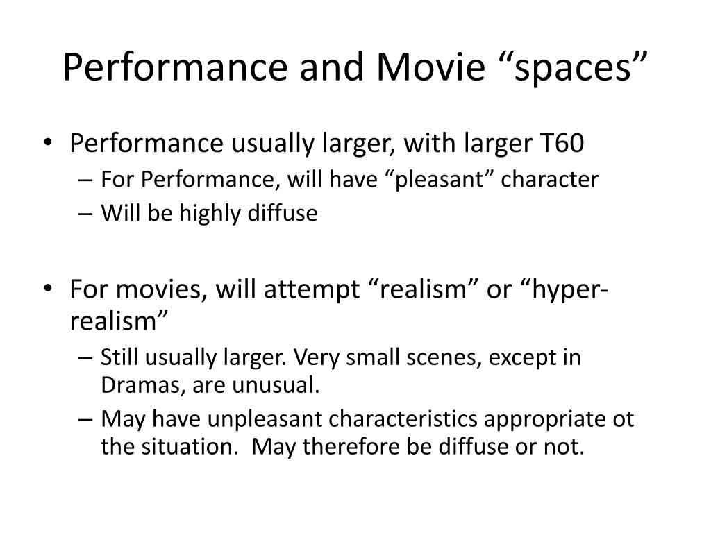 "Performance and Movie ""spaces"""