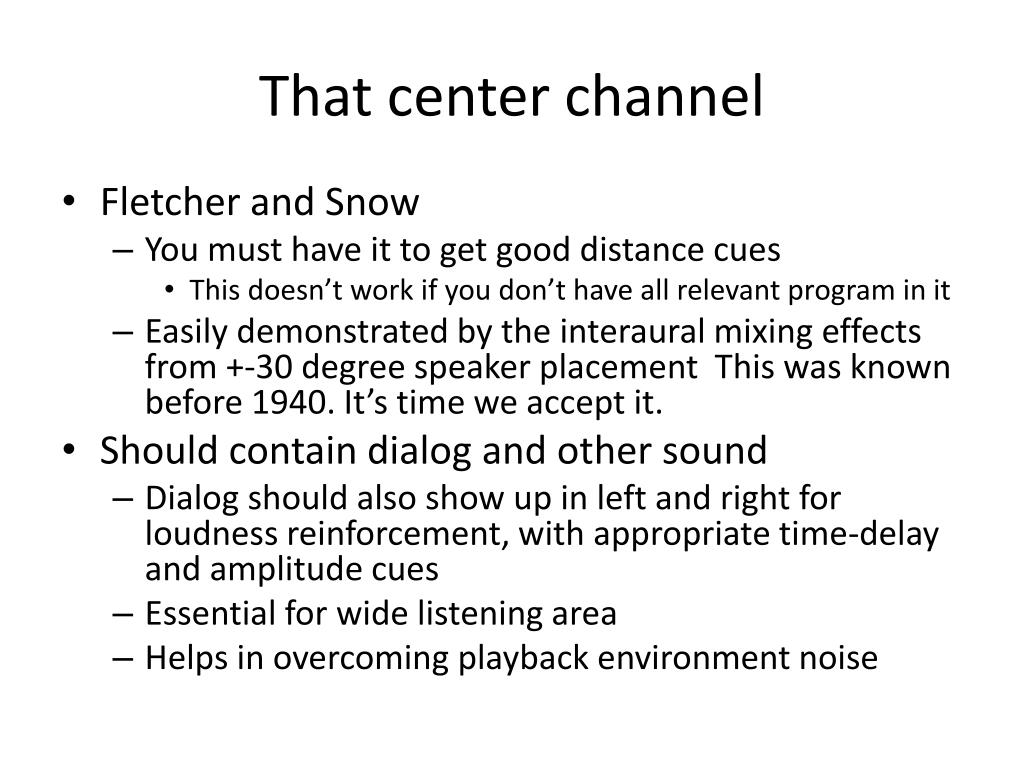 That center channel
