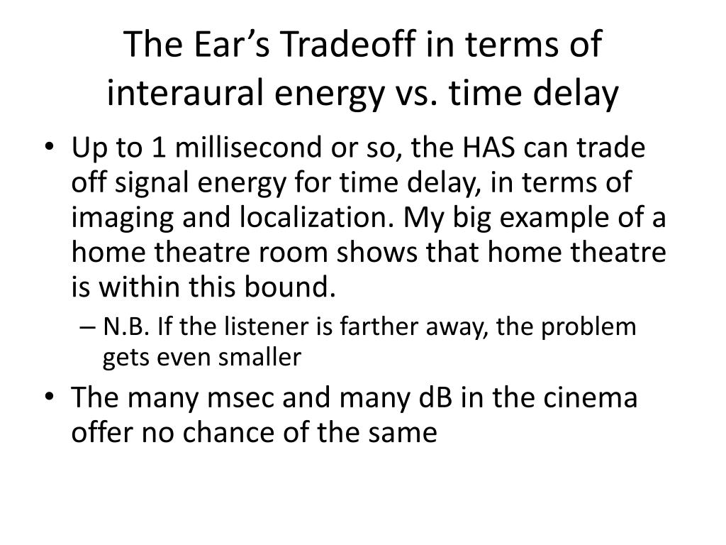 The Ear's Tradeoff in terms of interaural energy vs. time delay