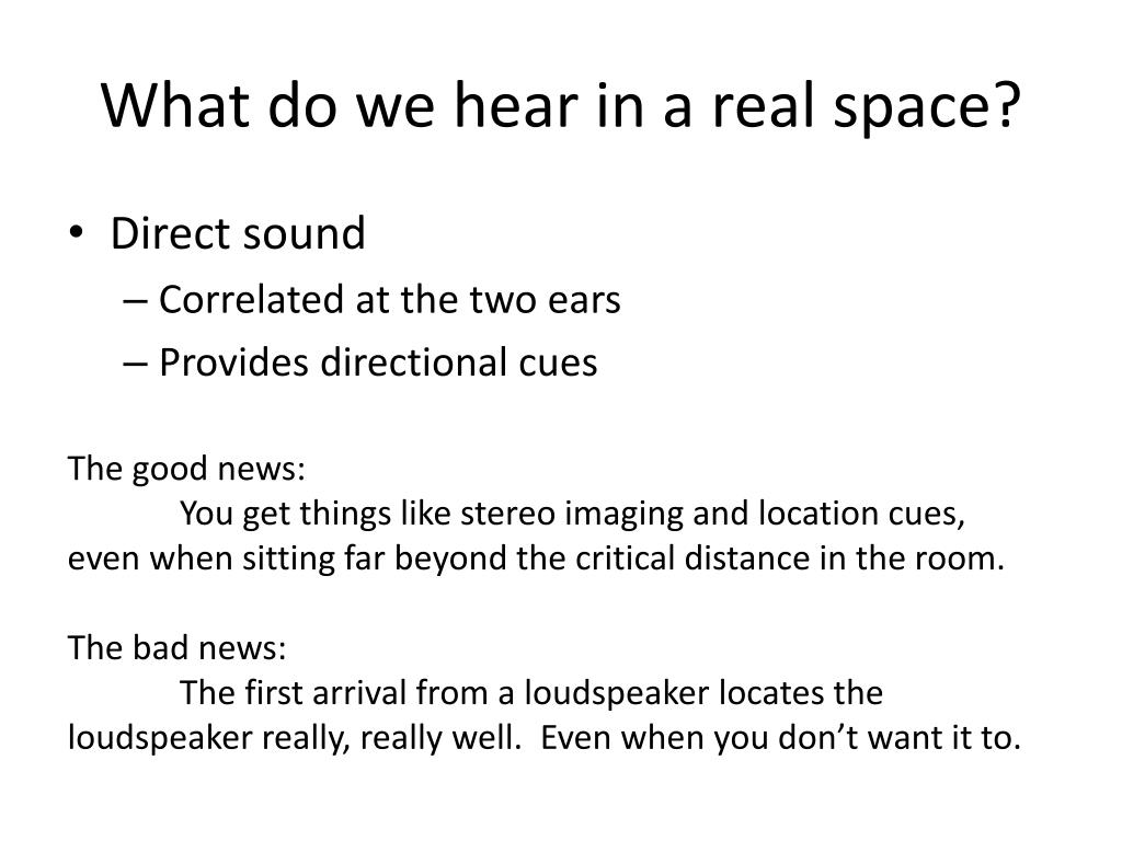 What do we hear in a real space?