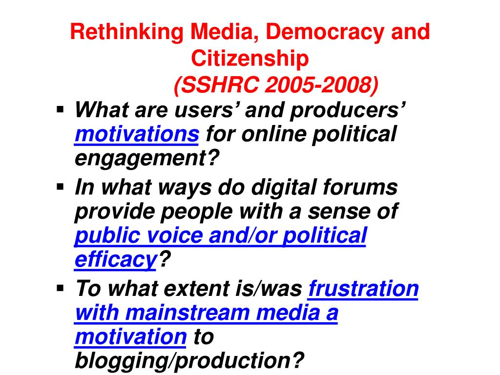 Rethinking Media, Democracy and
