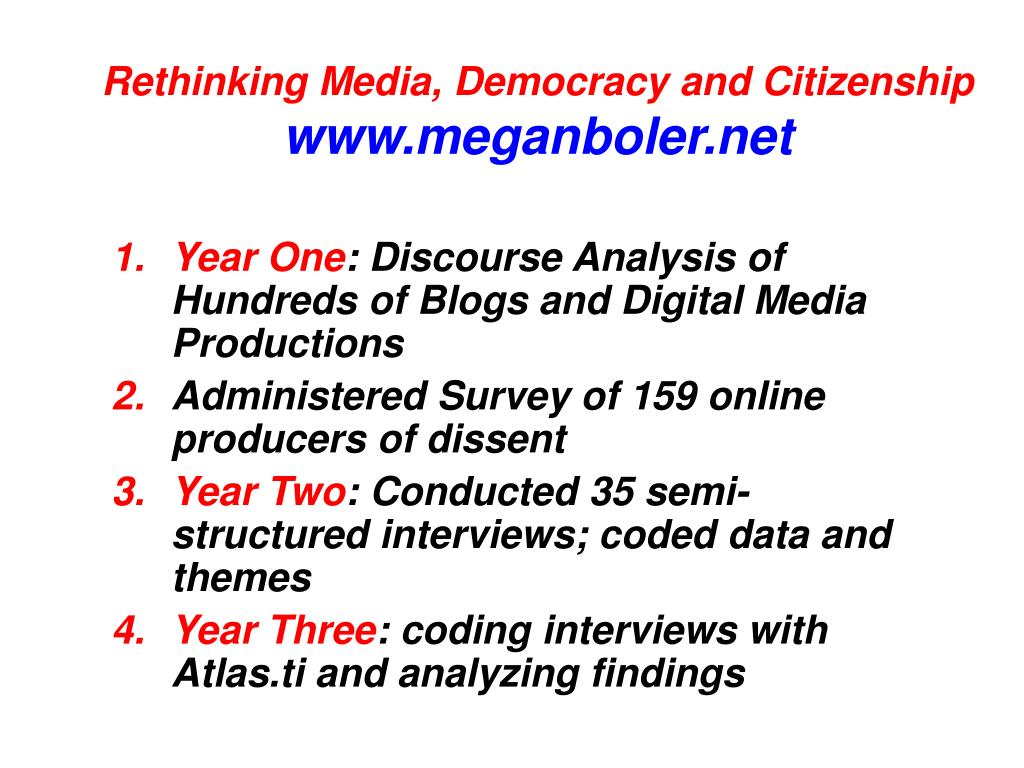 Rethinking Media, Democracy and Citizenship