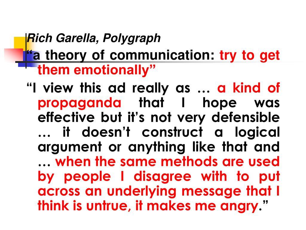 Rich Garella, Polygraph