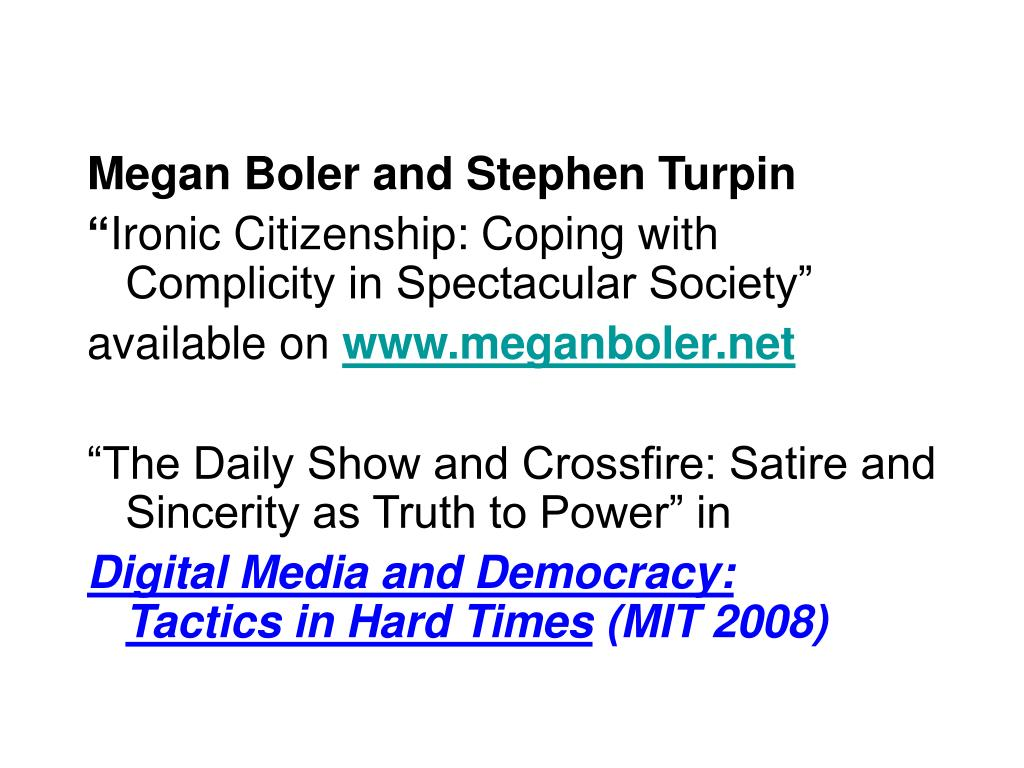 Megan Boler and Stephen Turpin