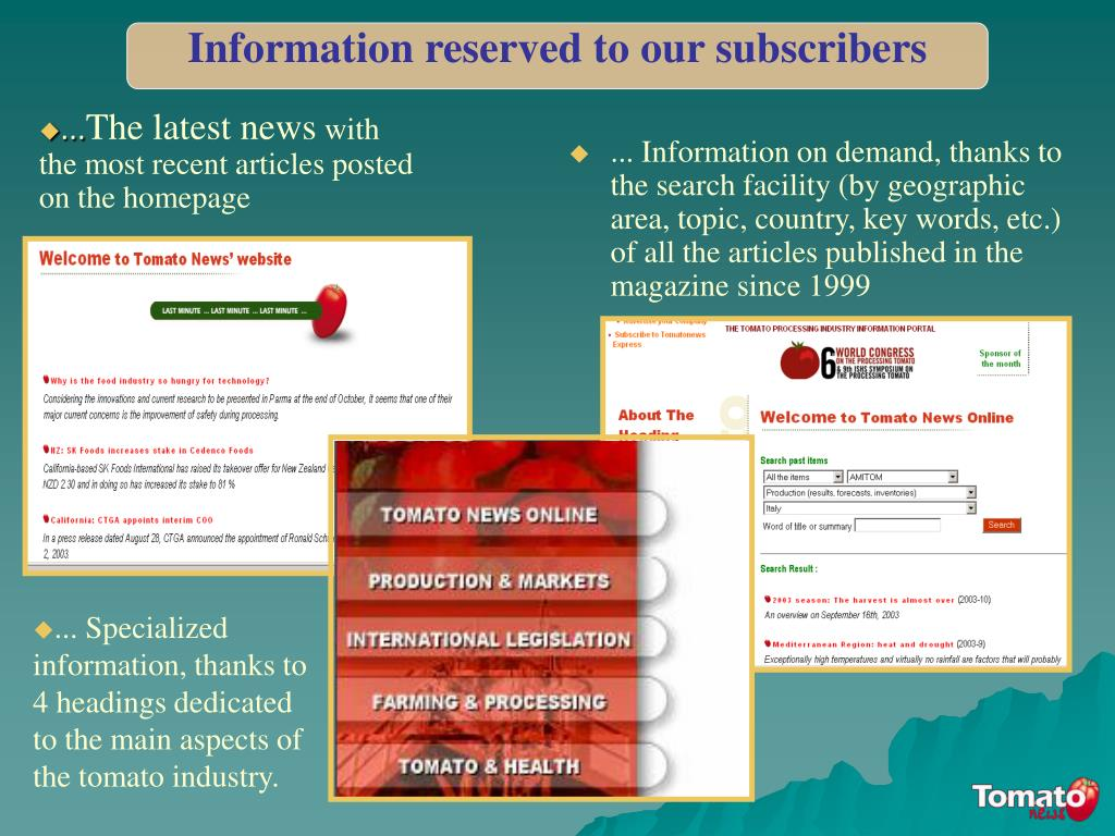 Information reserved to our subscribers