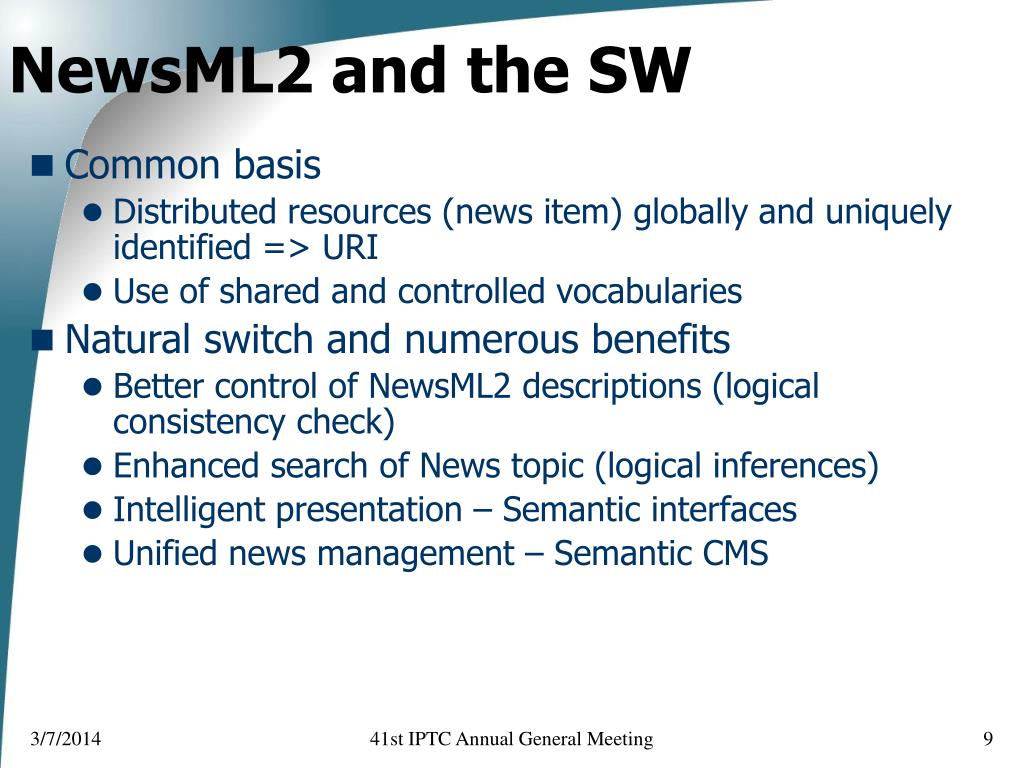 NewsML2 and the SW