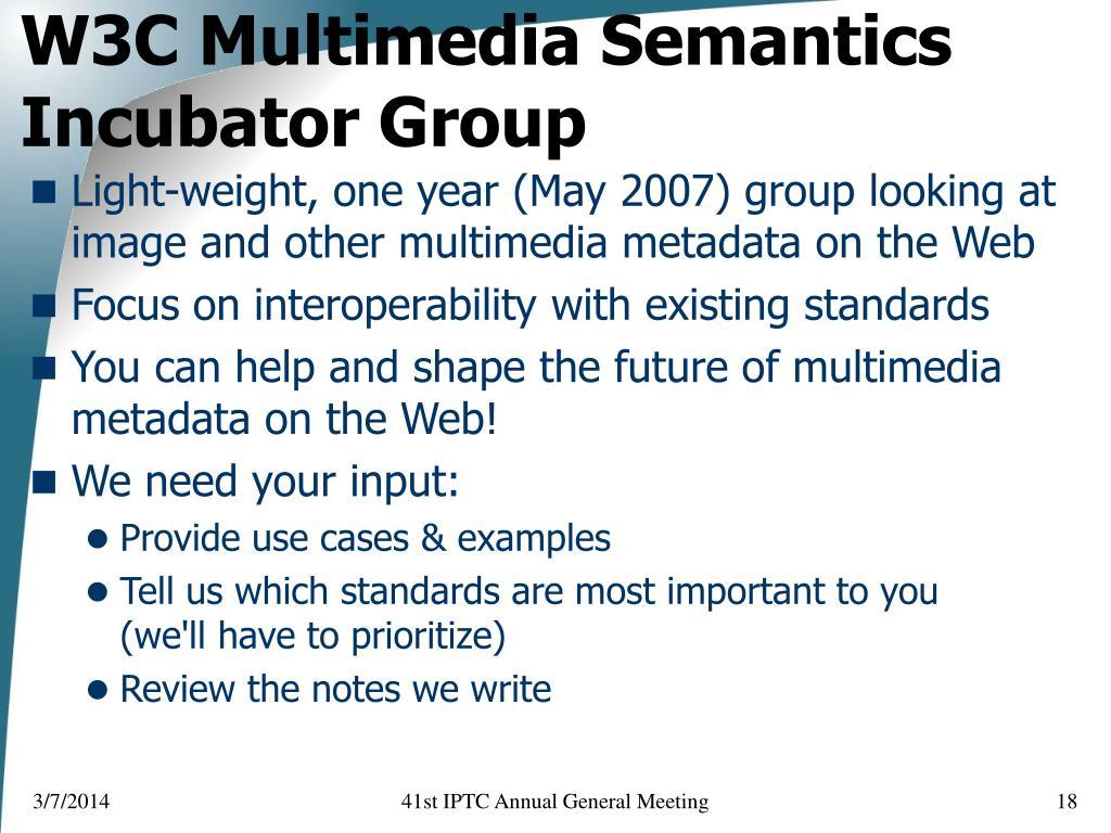 W3C Multimedia Semantics Incubator Group